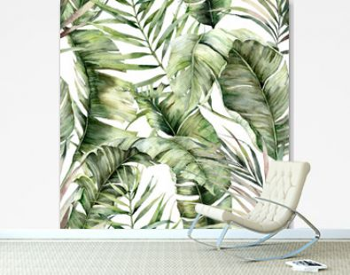 Watercolor seamless pattern with tropical palm leaves. Hand painted exotic leaves and branches isolated on white background. Floral jungle illustration for design, print, fabric or background.