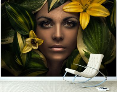 woman face and flowers, flower portrait, beauty portrait