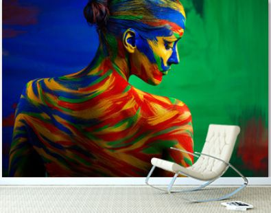 Art fashion makeup. Color face of woman for inspiration. Abstract portrait of the bright beautiful girl with colorful make-up and bodyart.