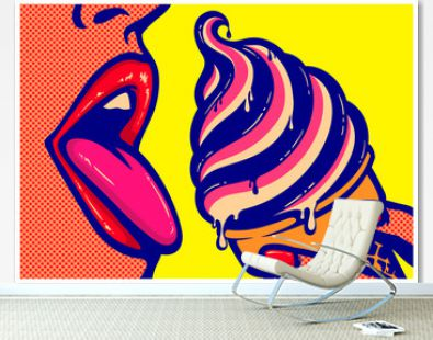 Pop art comics style sexy open mouth of woman eating ice cream cone with tongue out licking tasty delicious sweet treats vector illustration