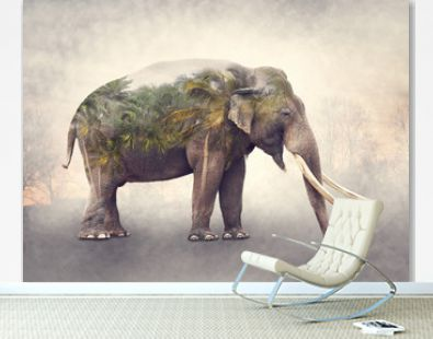 Double exposure of elephant and palm trees