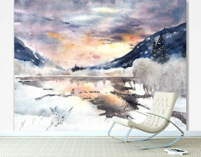 Winter landscape mountains lake snow watercolor painting