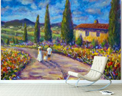 Impressionism art painting happy family in white clothes walking along road. Dad, mother and daughter are on road of summer Italian Tuscany nature landscape. Cypresses, red flowers,