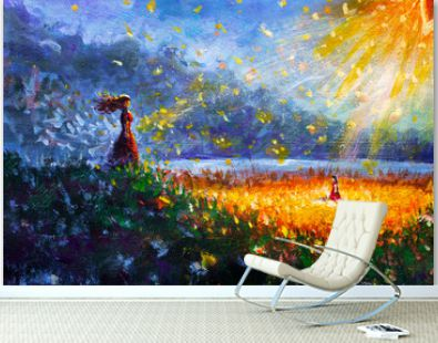 Painting oil - Glowing flower, little girl and woman mom - Fairytale illustration - modern art impressionism abstract landscape acrylic paint artwork