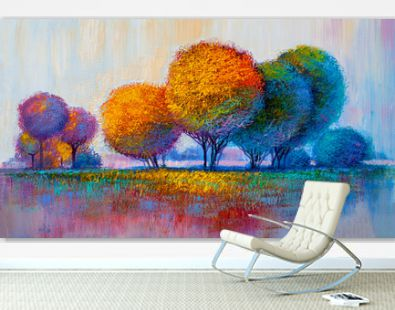 Trees, oil painting, artistic background