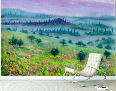 oil painting on canvas modern impressionism mountain landscape of Tuscany