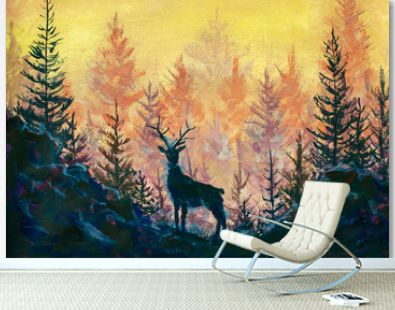 Deer and forest art painting illustration animal landscape artwork