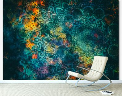 Abstract ancient geometric mandala graphic design with star field and colorful watercolor digital art painting galaxy backgrounds