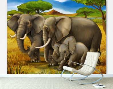 cartoon scene with elephant family safari illustration for children