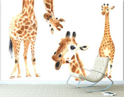 Set of watercolor giraffes