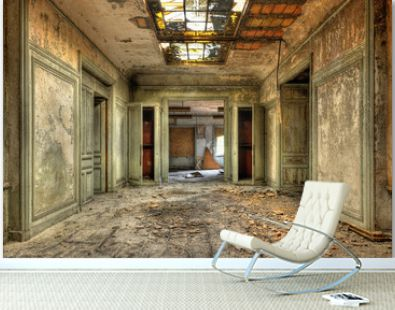 Decayed corridor in an abandoned central office of factory