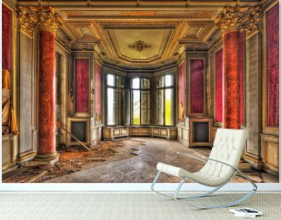Empty majestic room in an abandoned manor
