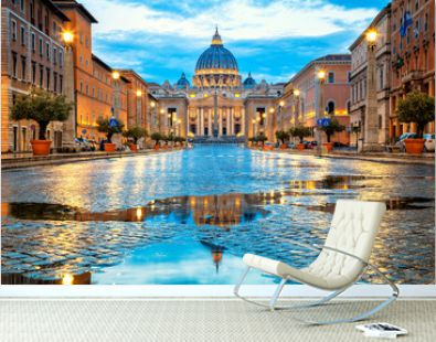St. Peter's Basilica in the evening from Via della Conciliazione in Rome. Vatican City Rome Italy. Rome architecture and landmark. St. Peter's cathedral in Rome. Italian Renaissance church.