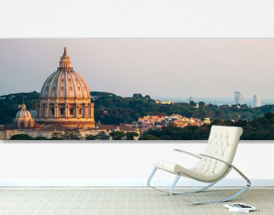Panorama Of Rome St. Peter's Basilica and Green Landscape