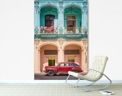 Classic vintage car and coloful colonial buildings in Old Havana, Cuba. Travel and tourism in Cuba