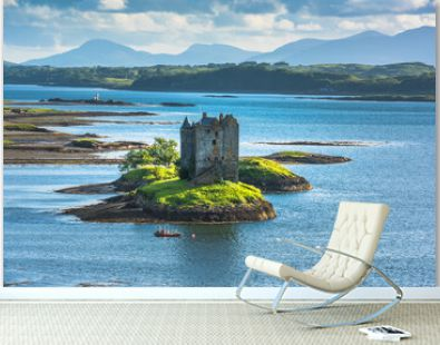 Castle on island - Castle Stalker - a picturesque castle surrounded by water located 25 miles north of Oban on the west coast of Scotland