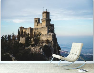 panoramic view of ancient medieval San Marino fortress on a winter cloudy day