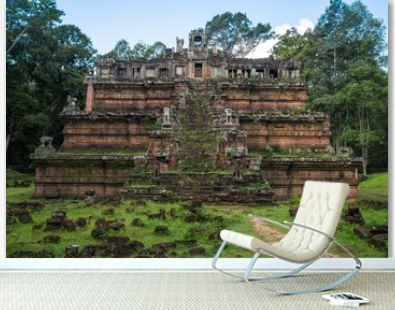 Scenery view of Phimeanakas (other name is or Vimeanakas) the ancient pyramid temple enclosure of the Royal Palace of Angkor Thom, Cambodia.