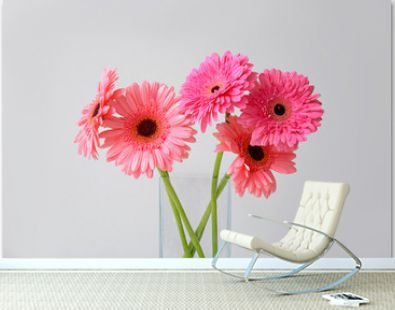 Vase with beautiful gerbera flowers on light background