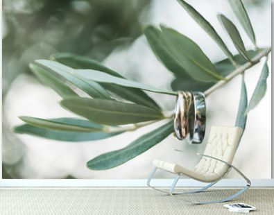 Two wedding rings hanging on olive tree green branch. Luxury brand presentation, jewelry concept.