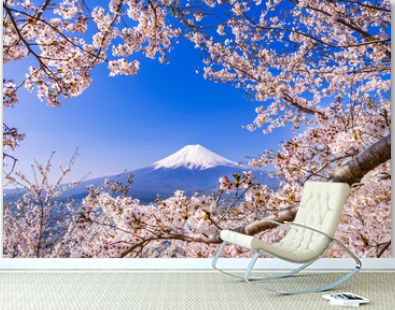 満開の桜と富士山 花のフレームに彩られた富士山の風景 / The scenery of Mt.Fuji surrounded by the frame of cherry blossoms in full bloom. Arakurayama Sengen Park, Yamanashi Prefecture, Japan.
