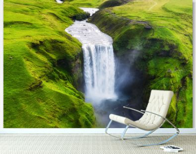 Aerial view on the Skogafoss waterfall in Iceland. Landscape from air. Famous place in Iceland. Travel - image