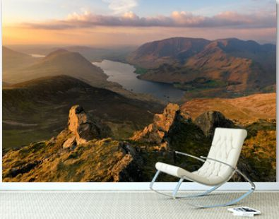 Aerial view of Crummock Water Lake at sunset from Red Pike in the Lake District.