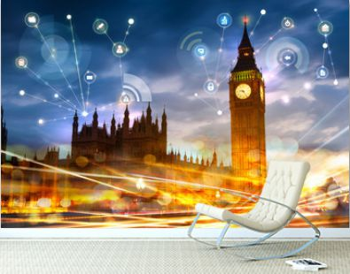 Big Ben and houses of Parliament at sunset. Illustration with communication and business icons, network connections concept.