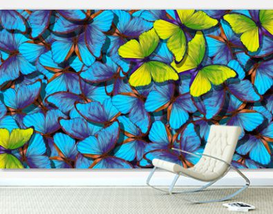 Blue abstract texture background. Butterfly Morpho. Wings of a butterfly Morpho. Flight of bright blue butterflies abstract background. Yellow butterflies against the background of many blue moths