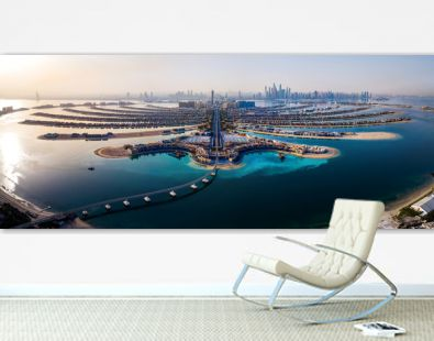 The Palm island panorama with Dubai marina in the background aerial