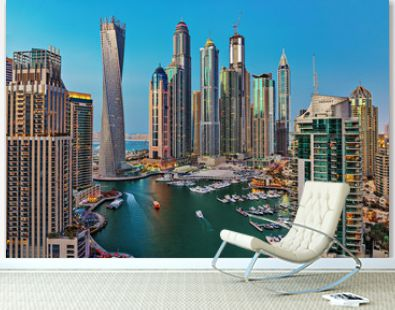 General view of Dubai Marina at twilight from the top