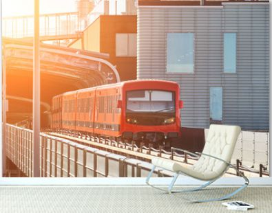 Modern metro train arriving at the station