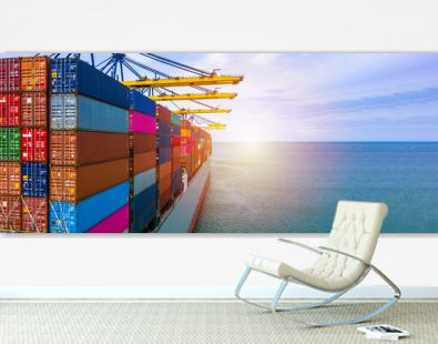 Container ship carrying container box in import export with quay crane, Global business cargo freight shipping commercial trade logistic and transportation oversea worldwide by container vessel.
