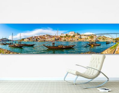 Panorama of the city of Porto on the Douro River in Portugal