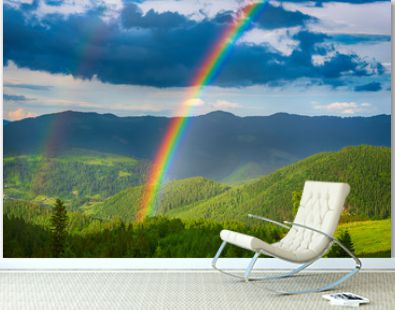 Mountains and rainbow
