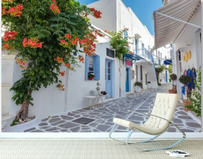 View of a typical narrow street in old town of Parikia, Paros island, Cyclades, Greece