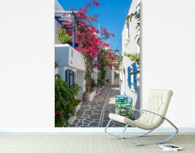 View of a typical narrow street in old town of Naoussa, Paros island, Cyclades, Greece