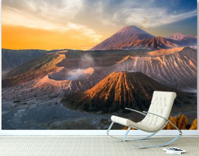 Mount Bromo volcano (Gunung Bromo) during sunrise from viewpoint on Mount Penanjakan, in East Java, Indonesia.
