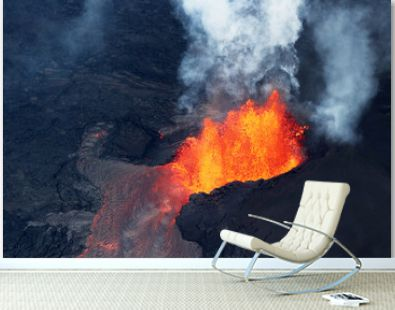 Aerial view of the volcanic eruption of volcano Kilauea, Fissure 8, May 2018