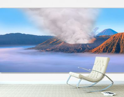Beautiful landscape with Mount Bromo volcano viewpoint in Bromo Tengger Semeru National Park at sunrise, Indonesia.