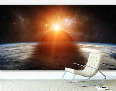 Eclipse of the sun on the planet Earth 3D rendering elements of this image furnished by NASA