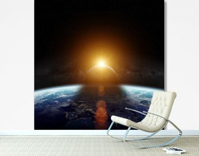 Eclipse of the sun on the planet Earth 3D rendering elements of