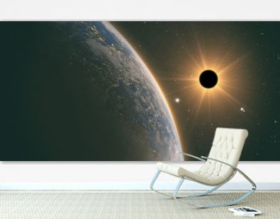 sun eclipse,full sun eclipse with Abstract scientific background