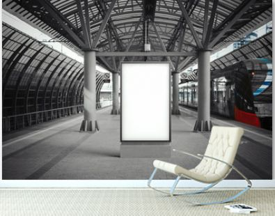 Blank white banner at metro station with arrived train on a background