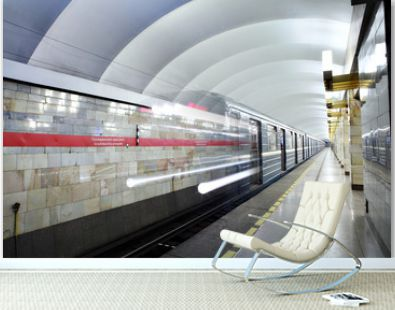 Russia, St. Petersburg, metro station train departs from subway