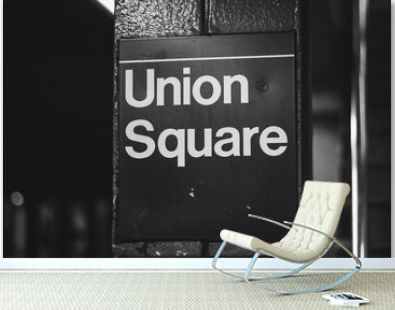 Union Square subway station sign in Manhattan, New York City