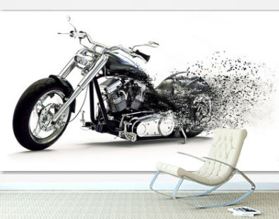 Side view of a Custom black motorcycle with dispersion effects on a white background. 3d rendering