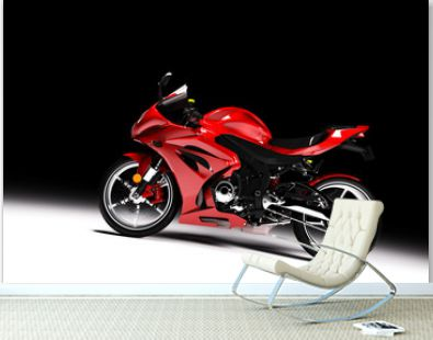 Side view of red sports motorcycle in a spotlight