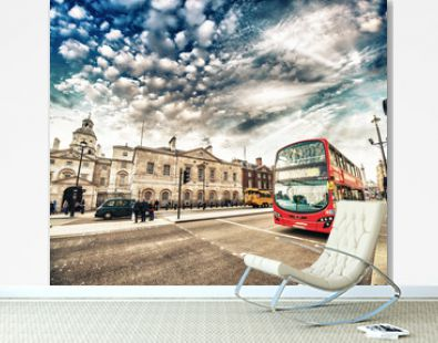 Modern Double Decker Bus in the streets of London