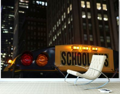 Close up of a school bus sign in New York City